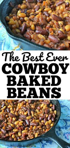 The Best Ever Cowboy Baked Beans recipe. Made with hamburger in a skillet (or can be made in a crockpot) with delicious bacon.Pioneer Woman would be proud of this easy recipe! Crockpot Baked Beans, Canned Baked Beans, Easy Baked Beans, Baked Beans With Bacon, Baked Bean Recipes, Beans Recipes, Recipe For Baked Beans With Hamburger, Recipes With Canned Beans, Chili Recipes