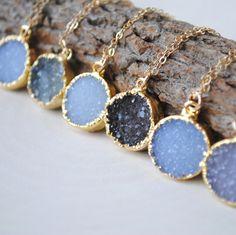 Gold Druzy Halskette - Runde Druzy Halskette - Druzy Goldschmuck