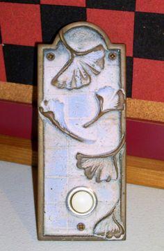 Weathered Copper Doorbell - Floral Oriental Design & Ginkgo Leaf Doorbell  Mission Door Bells and Door Knockers ... pezcame.com