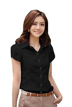 Women Summer Short Sleeve Shirt Casual T Shirts Black White Formal Work Wear Tops Xs White Lucy Calla http://www.amazon.com/dp/B00VK99N3K/ref=cm_sw_r_pi_dp_7sYdwb1SX53B1