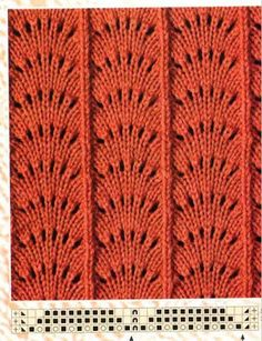 Aprender puntadas de tejido de dos Gujas y de crochet. Beautiful variant of Feather & Fan There are several others on the page with charts. Many other charted knitting stitches on this Russian site. Lace Knitting Stitches, Easy Knitting Patterns, Crochet Stitches Patterns, Knitting Charts, Knitting Designs, Baby Knitting, Stitch Patterns, Couture, Knits