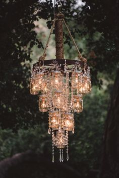 rustic bling! I could do this with the mason jar/wagon wheel chandelier I made!