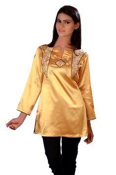 Yellow Silk Women's Top Tunic Kurti