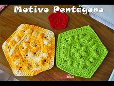 Motivo Pentágono em Crochê - Versão Destras - Professora Ivy (Crochê Tricô) - YouTube
