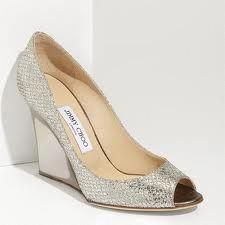 21516e232efd Jimmy Choo  Bello  Glitter Wedge U. Sparkling fabric lends elegant edge to  a timeless peep-toe pump.