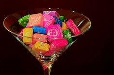 cute party idea: candy in martini glasses