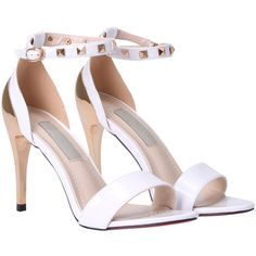 94e505dbe277 SHEIN offers White Rivet Ankle Strap Sandals   more to fit your fashionable  needs. White High Heel ...