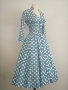 vintage 1950s GIGI YOUNG Originals tea length polka dot swing skirt dress.