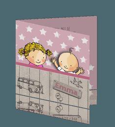 Hip geboorte kaartje meisje zus met blonde krullen