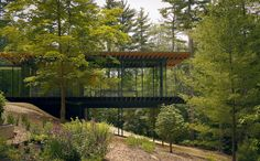 Kengo Kuma updated the mid-century Glass Wood House in New Canaan, Connecticut, while maintaining the home's integration with its natural surroundings. Photo by Kengo Kuma & Associates for Glass Wood House Cantilever Architecture, Japanese Architecture, Architecture Design, Modern Exterior, Exterior Design, Modern Glass House, Kengo Kuma, New Canaan, Forest House