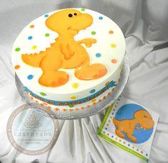 T-rex Dinosaur Cake to match party napkin