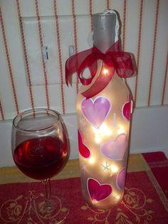 Romantic Lighted Wine Bottles for by SharonsPaintedWoods on Etsy, $16.00