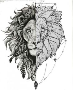 -Slowly fade wave from one side to other -Make chin even -Make hair line arches even -Gentle fade in the middle of bold distinction? Should manes be same size? Lion Head Tattoos, M Tattoos, Sleeve Tattoos, Animal Sketches, Art Drawings Sketches, Tattoo Drawings, Ghetto Tattoos, Hirsch Tattoo, Geometric Lion Tattoo