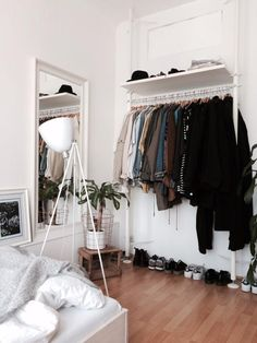 open wardrobe/closet and shelving.
