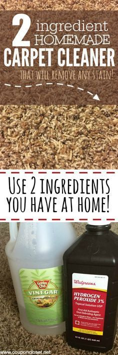 Easy homemade carpet cleaner. Mix equal parts of Vinegar and Hydrogen Peroxide in a bowl. Pour the cleaner on the stain. Use immediately, blot stain with clean towel or rag.