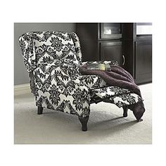 Black & White Wing Recliner...mine aren't recliners but I like the fabric. Better than blue though? I can't decide!