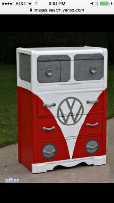 Storage and Dresser Restore-age Repurosed VW themed chest of drawers. Don't miss these kiddie furniture makeovers at Repurosed VW themed chest of drawers. Don't miss these kiddie furniture makeovers at Funky Furniture, Repurposed Furniture, Unique Furniture, Furniture Projects, Kids Furniture, Furniture Making, Furniture Makeover, Painted Furniture, Diy Projects