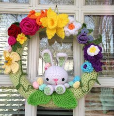 Items similar to Bunny Love Spring Easter Wreath on Etsy Holiday Crochet, Crochet Home, Crochet Gifts, Wreath Crafts, Diy Wreath, Yarn Crafts, Easter Wreaths, Holiday Wreaths, Holiday Crafts