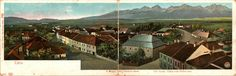 The biginnings of tourism - Small town at the end of the 19th century, with view on High Tatras. ( Slovakia - in that time Austro - Hungarian kingdom )
