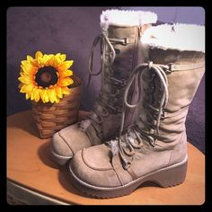 """ALDO TALL FURRY BOOTS ALDO Tall furry boots. Excellent Condition, No Flaws. Clean. Zippers in side and can be laced up also. Very Comfortable, small 2"""" heel. Furry inside. Only worn once. Soles show absolutely no wear. Really Cute Boots. ALDO Shoes Winter & Rain Boots"""