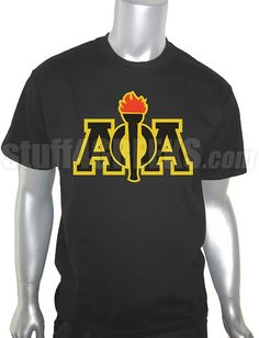 Price: $39.00  Black Alpha Phi Alpha t-shirt with torch. This design is embroidered, not screen-printed. The result is a higher-quality garment where the letters are stiched-on (sewn into the garment) and the image will never fade, crack, nor peel.