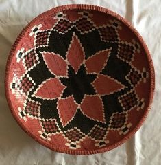 "Upendo  Large African Wall Basket, 16"" African Woven basket,Tanzania Baskets. White and Brown Round wicker basket / large ungo basket Bowl"