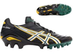 Asics Lethal Glory Rugby Boots Moulded Studs 4 hard ground Blk/Wht/Grn sizes 7-8 #ASICS