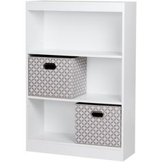 South Shore Axess 4-Shelf Bookcase with 2 Fabric Storage Baskets ($119) ❤ liked on Polyvore featuring home, furniture, storage & shelves, bookcases, white, white shelving unit, white bookshelf, white basket, white storage baskets and white book shelves