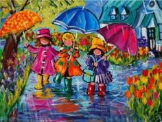 umbrellas.quenalbertini: Little girls in the rain by Katerina Mertikas