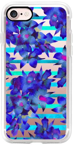 Casetify iPhone 7 Classic Grip Case - Botanical Stripes by Amaya #Casetify @casetify #floral #phonecase #iphone #tropical #blue #orchid #flowers #chic #fashion #color #love #stripes #trendy #fashionblog #transparent #iphone #phonecases