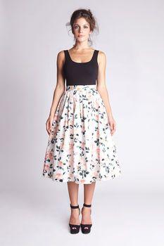 Tea Length Floral Pleated Skirt