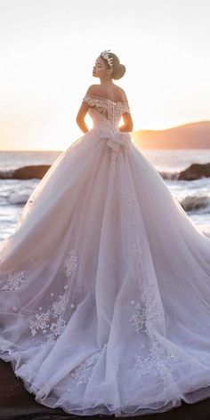 lace off the shoulder ball gown bridal dresses with bow