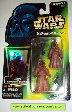 star wars action figures JAWAS JAWA 2 pack green card power of the force 1996 hasbro toys moc mip mib