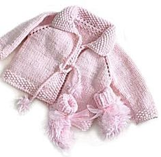 Free Knitting Pattern 50678 Pretty in Pink Knit Jacket and Booties : Lion Brand Yarn Company
