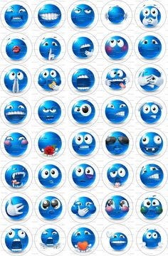 Digital Collage 1 Circles Smileys / 35 by LisaChristines on Etsy, $1.75