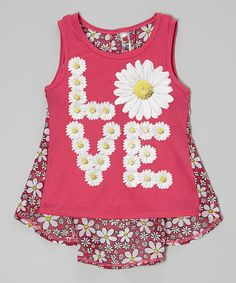 Look at this #zulilyfind! Beautees Hot Pink Sparkle 'Love' Daisy Layered Tank by Beautees #zulilyfinds