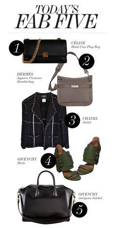 TODAY'S FAB FIVE • 1. Céline Black Case Flap Bag http://shop-hers.com/products/16222 • 2. Hermès Jypsière Clemence Shoulderbag http://shop-hers.com/products/16107 • 3. Chanel Jacket http://shop-hers.com/products/16374 • 4. Givenchy Heels http://shop-hers.com/products/16327 • 5. Givenchy Antigona Satchel http://shop-hers.com/products/7668