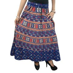 Mogulinterior Gypsy Indian Skirt-Blue Cotton Elephant Printed Bohemian Hippie Skirts