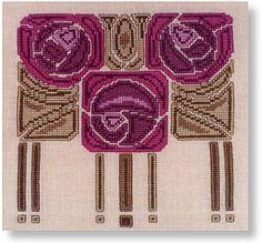 Mackintosh roses cross-stitch design For tapestry crochet
