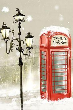 Phone booth winter ❤ hd desktop wallpaper for ultra hd tv Trendy Wallpaper, I Wallpaper, Mobile Wallpaper, Wallpaper Backgrounds, Winter Backgrounds, London Christmas, Vintage Christmas, London Winter, Christmas Images