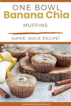 A healthy make ahead breakfast that any busy mom can make! With only one bowl and 5 min prep, these banana muffins come together really fast and are loaded with chia seeds to keep those kids full longer! Healthy Make Ahead Breakfast, Clean Eating Breakfast, Healthy Meals For Kids, Breakfast Recipes, Healthy Breakfasts, Breakfast Casserole, Breakfast Ideas, Healthy Snacks, Healthy Eating