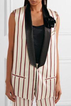 Lanvin - Embellished Striped Satin-jacquard Vest - Beige - FR