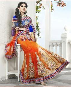 Alluring Deep Orange & Tomato Lehenga Saree [ASPR8002] $128.06 - Buy fashion wear online, Buy Indian wear Online by A1designerwear.com