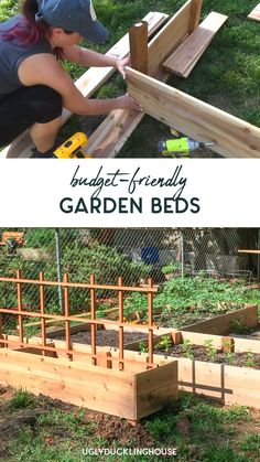 DIY Budget-Friendly Garden Beds So easy! Check out how I made this cheap & easy L-shaped raised garden bed out of inexpensive fence pickets. In just a few hours, I had a vegetable garden ready for gro Backyard Vegetable Gardens, Vegetable Garden Design, Outdoor Gardens, Diy Planters Outdoor, Wood Pallet Planters, Vertical Vegetable Gardens, Fence Planters, Herb Garden Design, Outdoor Pallet