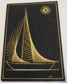 Mid Century Modern String Art Sail Boat Wall Hanging 9.50 X 14