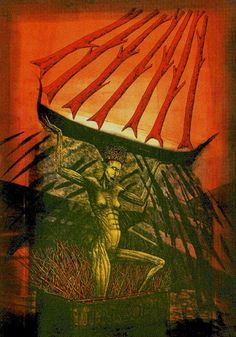 Seven of Wands - Akron Tarot by S.O. Huttengrund