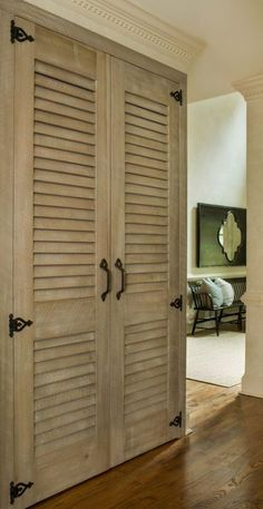 Strip the shutter doors? Strip the shutter doors? Bedroom Closet Doors, Hallway Closet, Sliding Wardrobe Doors, Sliding Closet Doors, Cupboard Doors Makeover, Closet Door Makeover, Kitchen Cabinet Doors, Closet Makeovers, Kitchen Cabinets