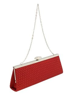 Scheilan Red Fabric Weave Clutch/Shoulder Bag >>> To view further for this item, visit the image link. (This is an affiliate link) Red Fabric, Satin Fabric, Woven Fabric, Clutch Tutorial, Louis Vuitton Clutch, Clutches For Women, Clutch Wallet, Clutch Handbags, Weaving Techniques