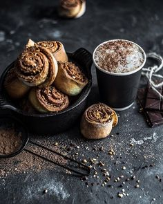 Cinnamon rolls and cocoa dusting...