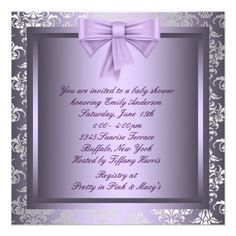 Silver Purple Black Princess Baby Girl Shower Personalized Announcement from Zazzle.com